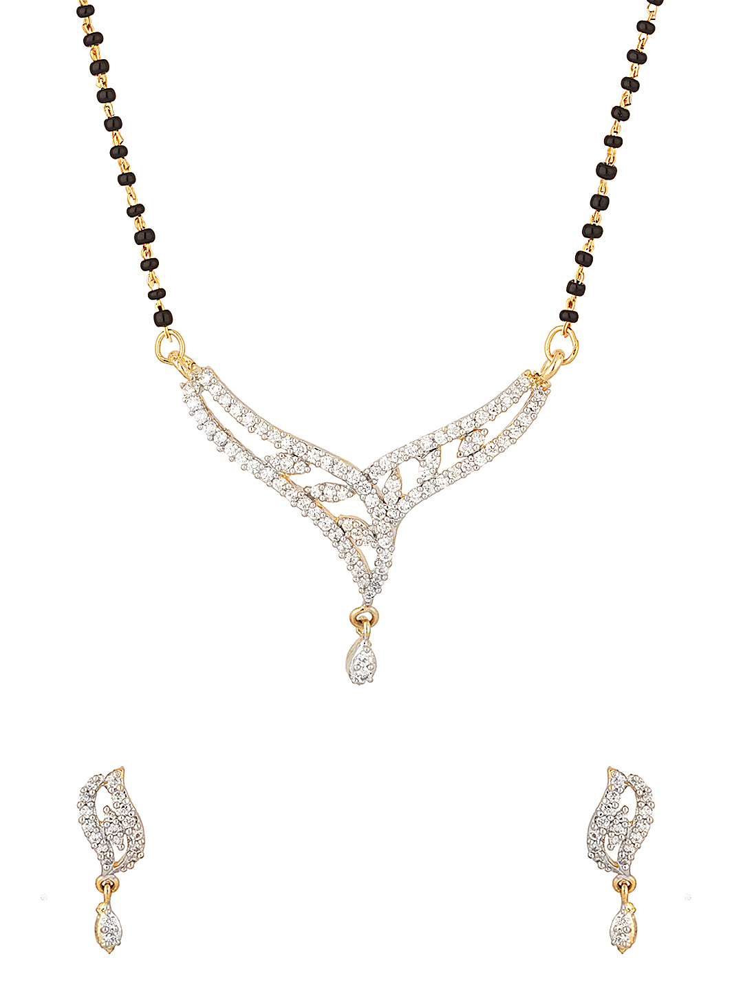 Voylla Gold-Plated & Black Mangalsutra & Earrings Set available at Myntra for Rs.40
