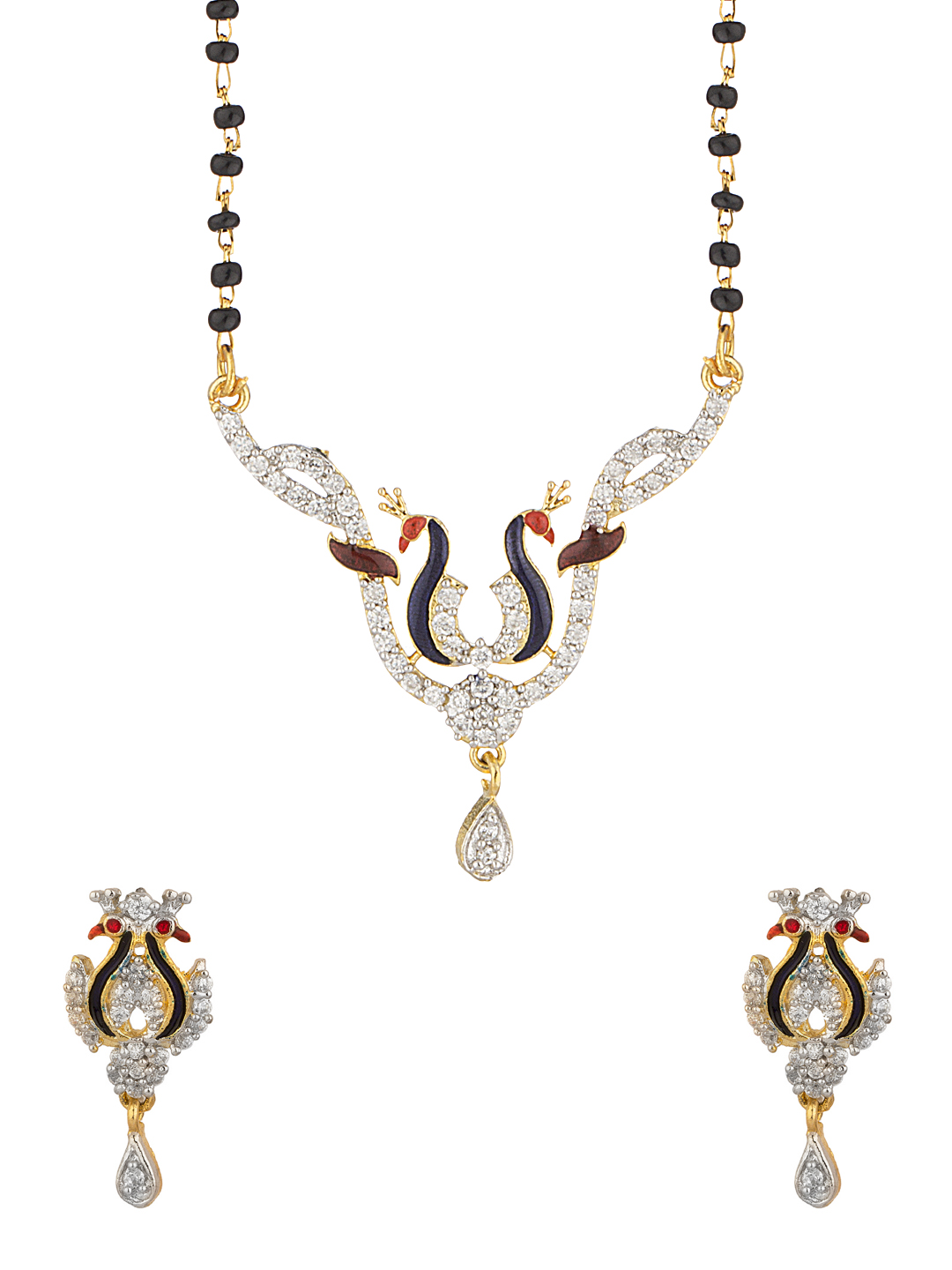 Voylla Gold-Toned & Black Mangalsutra & Earrings Set available at Myntra for Rs.30