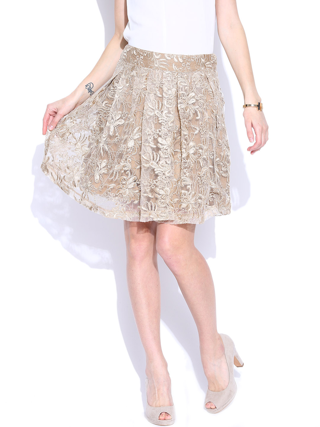 Vero Moda Marquee by Kangana Ranaut Beige Embroidered Pleated Flared Skirt