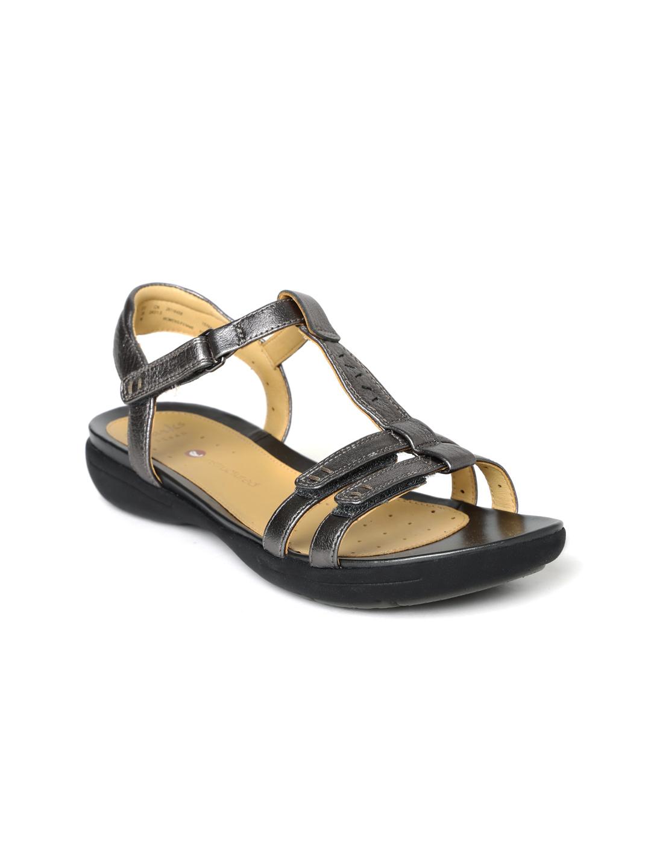 Clarks Women Gunmetal-Toned Leather Flats
