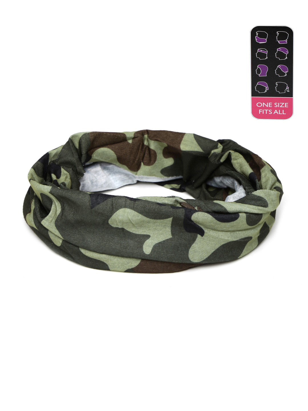 Ayesha Unknown Unisex Olive Green & Brown Camouflage Print Multifunctional Headwear