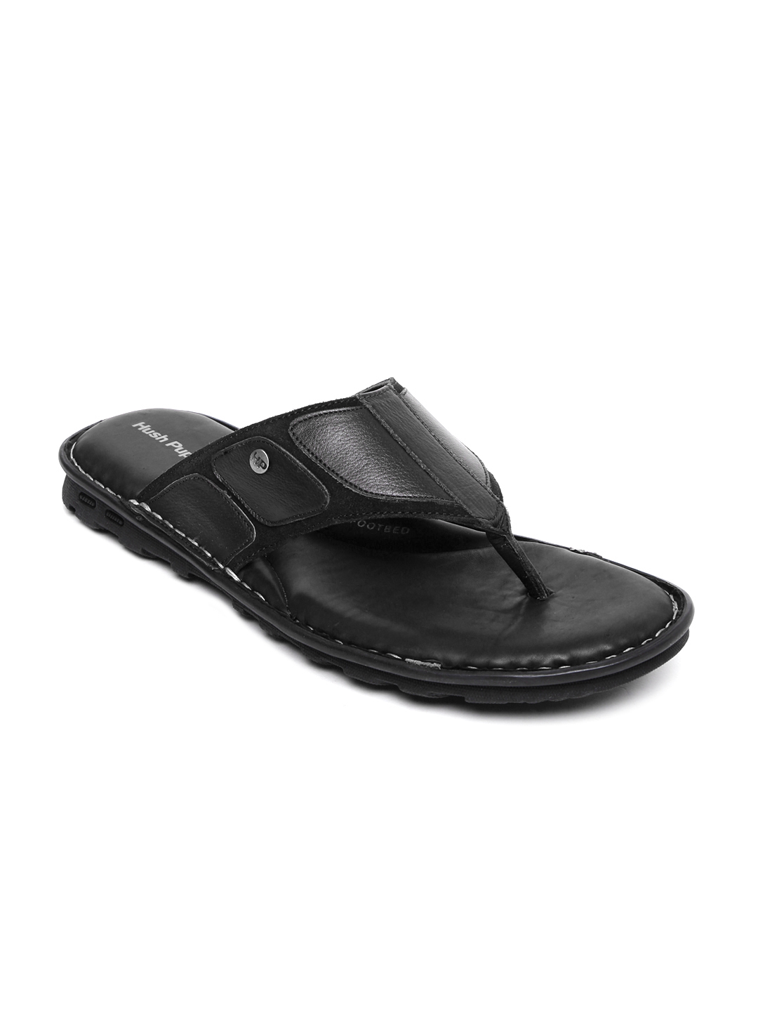Hush Puppies Men Black Leather Sandals