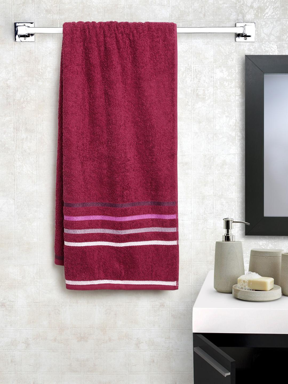 BOMBAY DYEING Maroon Cotton 500 GSM Bath Towel