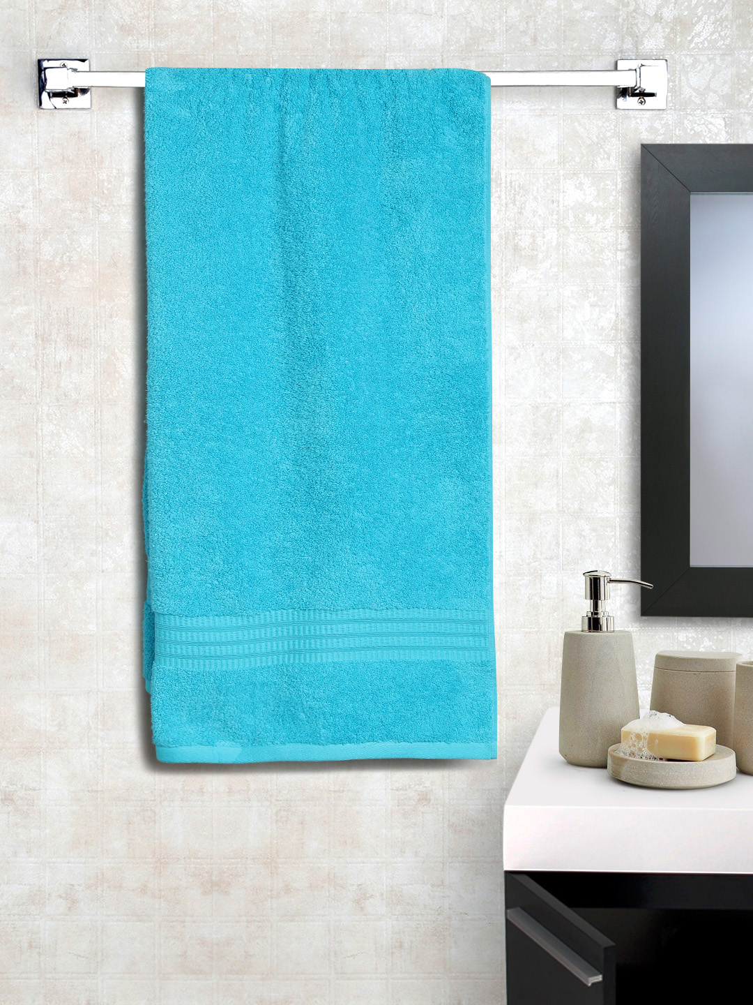 BOMBAY DYEING Turquoise Blue Cotton 650 GSM Bath Towel