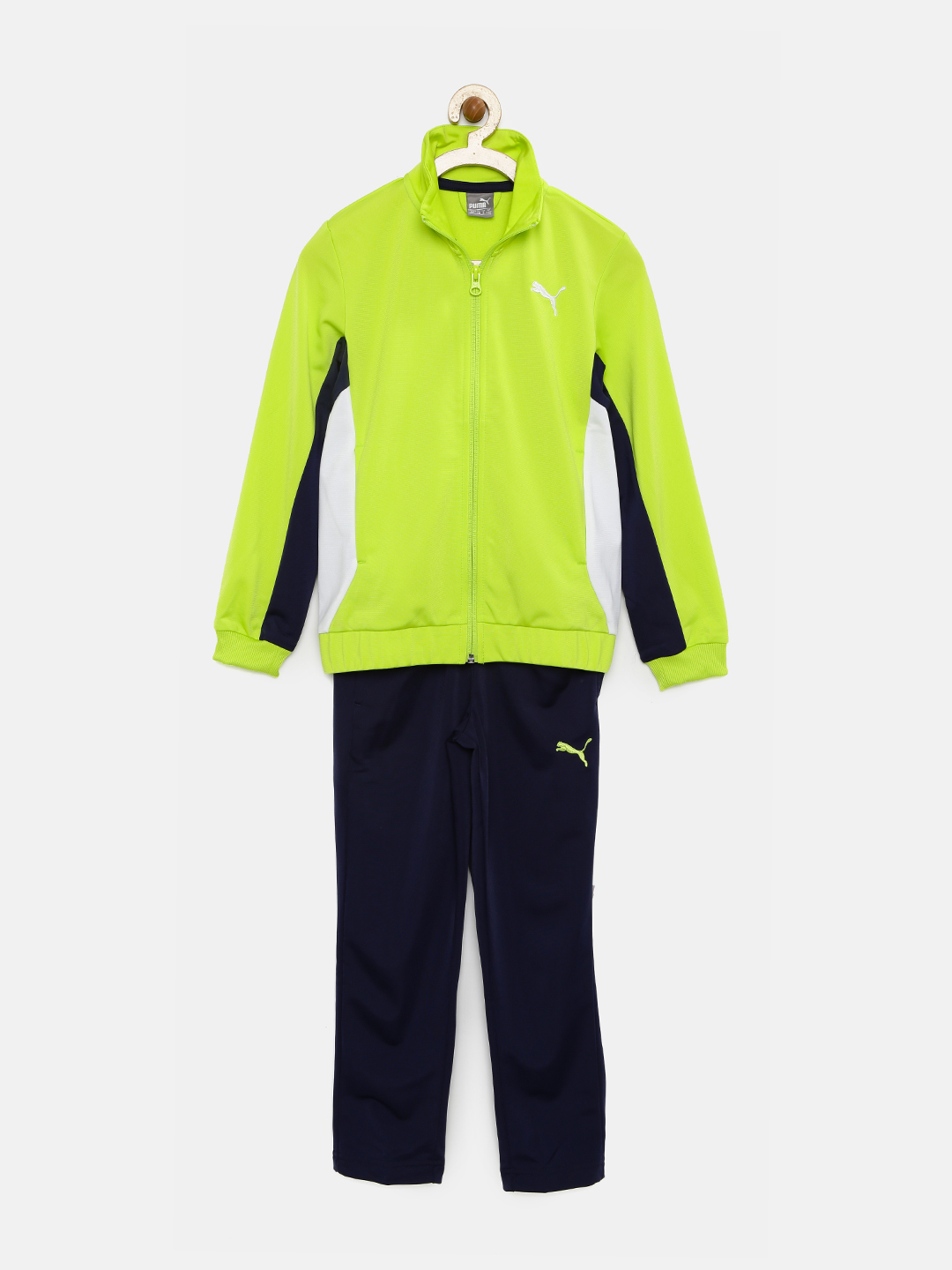PUMA Boys Flourescent Green & Navy Polyester ACTIVE Tracksuit