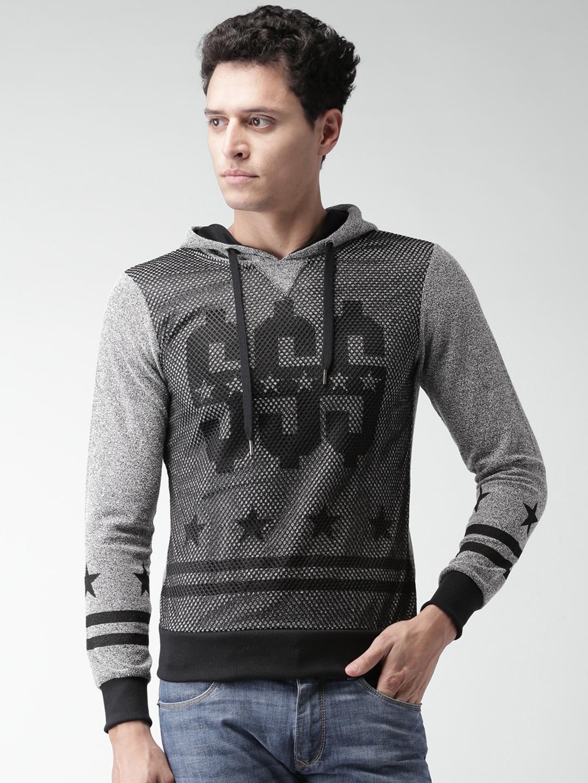 ALCOTT Grey Printed Hooded Sweatshirt
