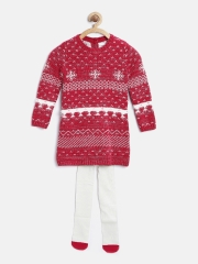 Marks & Spencer Girls Pink & White Fair Isle Pattern Sweater Dress with Tights