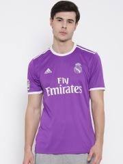 Adidas Men Purple Real Madrid F.C. Printed Round Neck Jersey