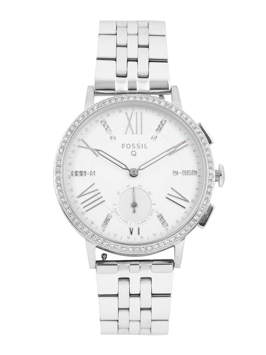 Fossils-Women-White-Embellished-Hybrid-Smart-Watch-FTW1105