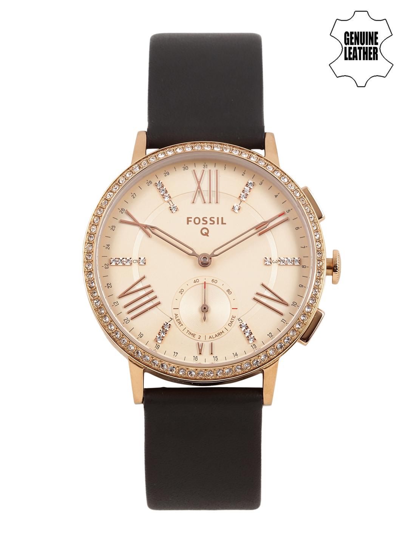Fossils-Women-Rose-Gold-Toned-Embellished-Hybrid-Smart-Watch-FTW1116