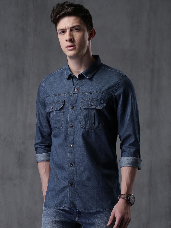 WROGN Men Blue Slim Fit Denim Solid Casual Shirt