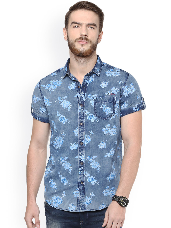 Mufti Men Blue Chambray Slim Fit Printed Casual Shirt
