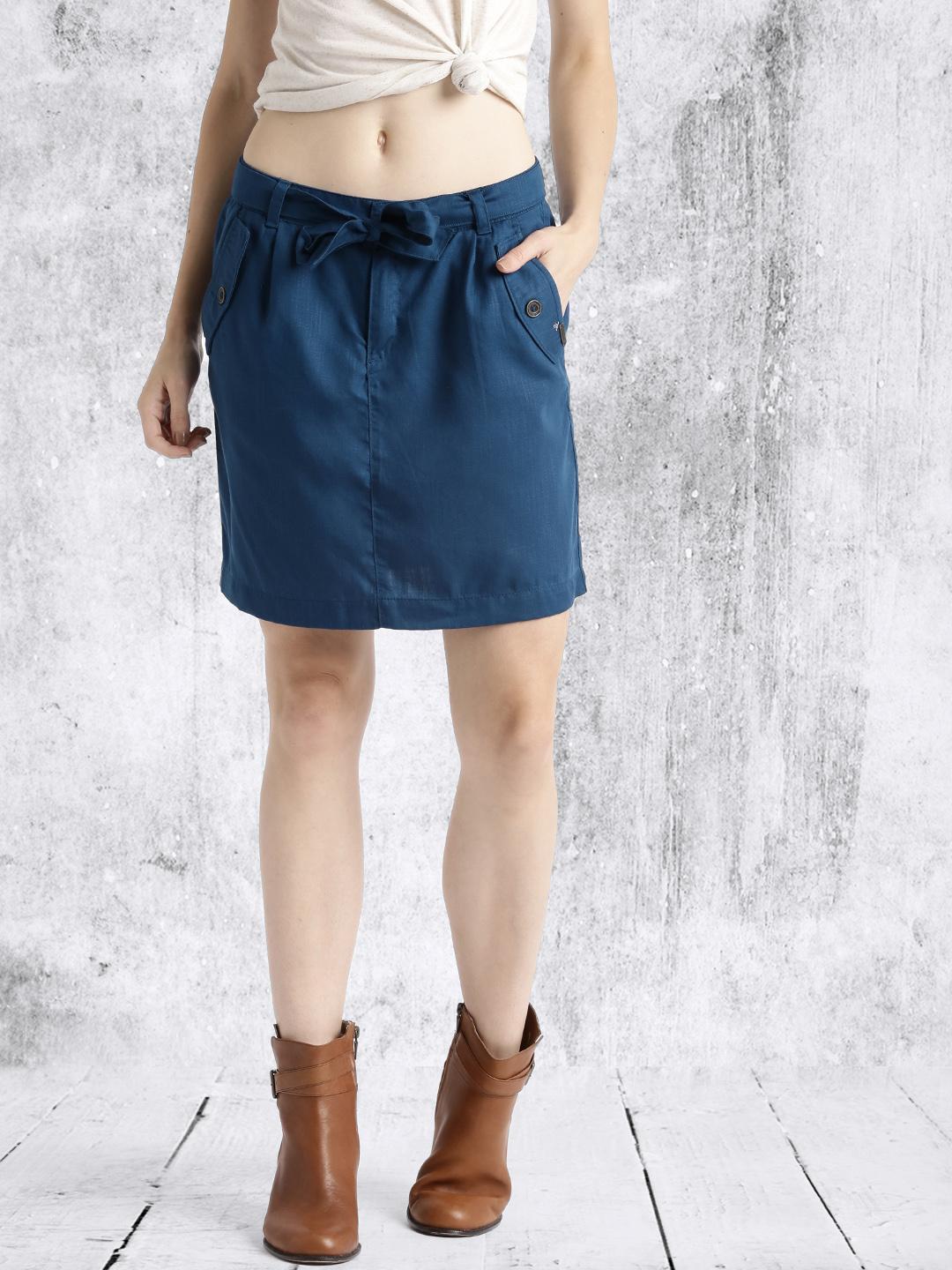 Roadster Navy Green A-Line Skirt