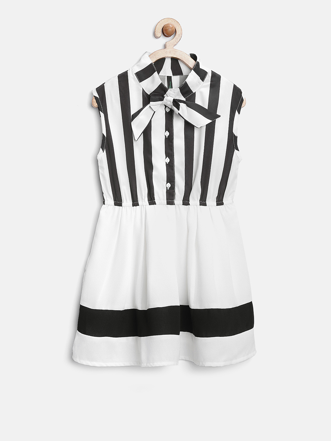 United Colors of Benetton Girls Off-White Striped Fit & Flare Dress