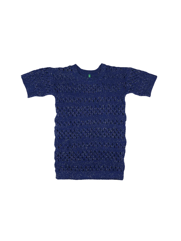 United Colors of Benetton Girls Blue Self-Design Sweater