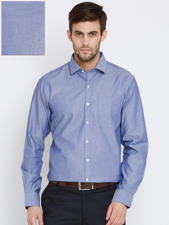 Wills Lifestyle Men Blue Slim Fit Solid Formal Shirt