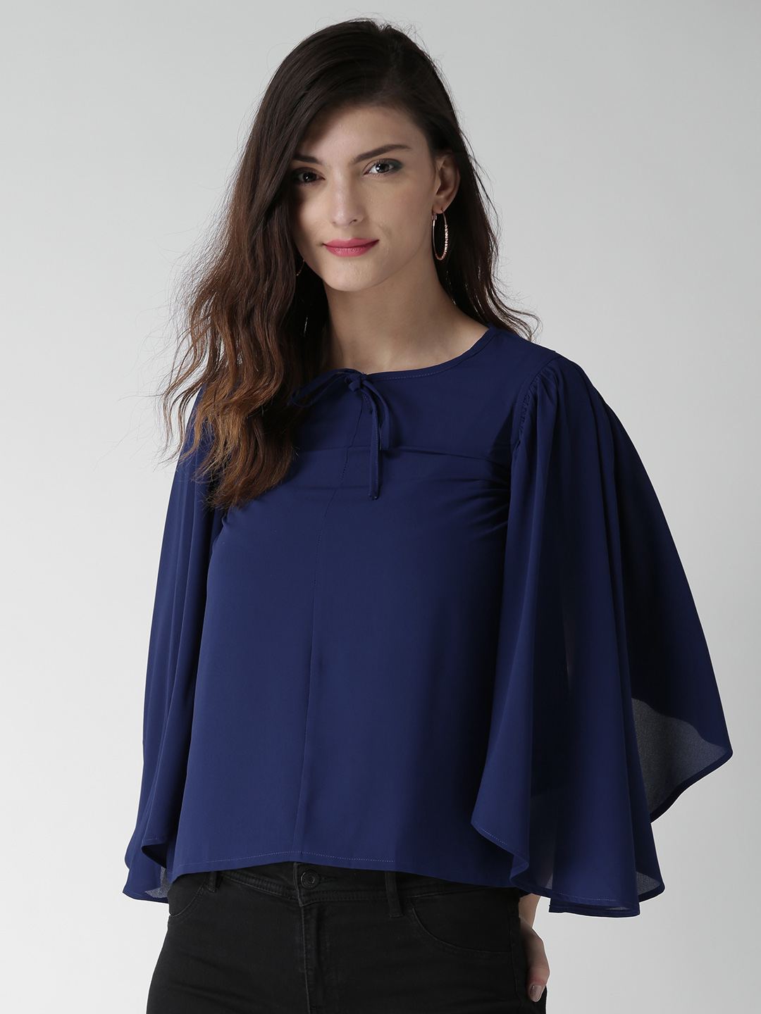 VVINE Women Navy Solid Polyester Georgette Boxy Top