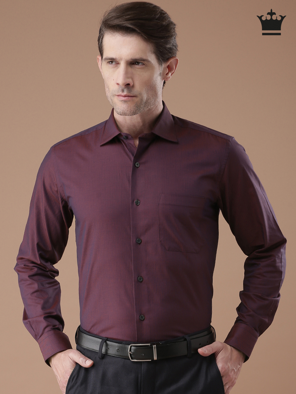 Louis Philippe Burgundy Formal Shirt