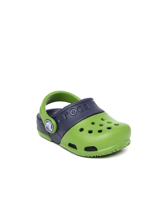 Crocs Kids Green and Navy Colourblocked Electro II Clogs