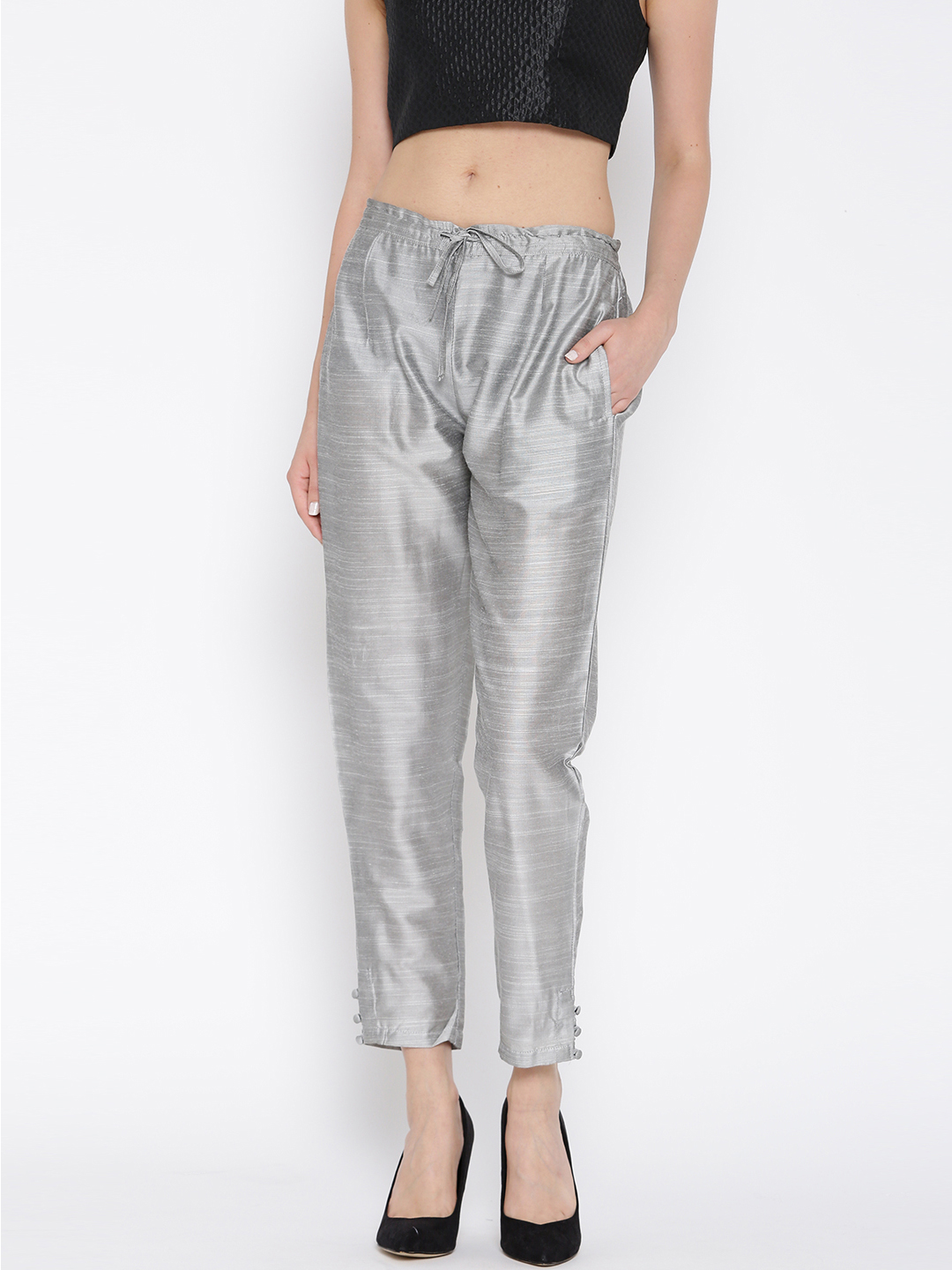 Shree Women Grey Relaxed Fit Solid Cropped Trousers