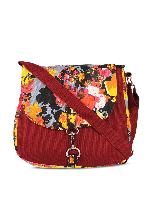 Vivinkaa Maroon & Yellow Floral Print Sling Bag