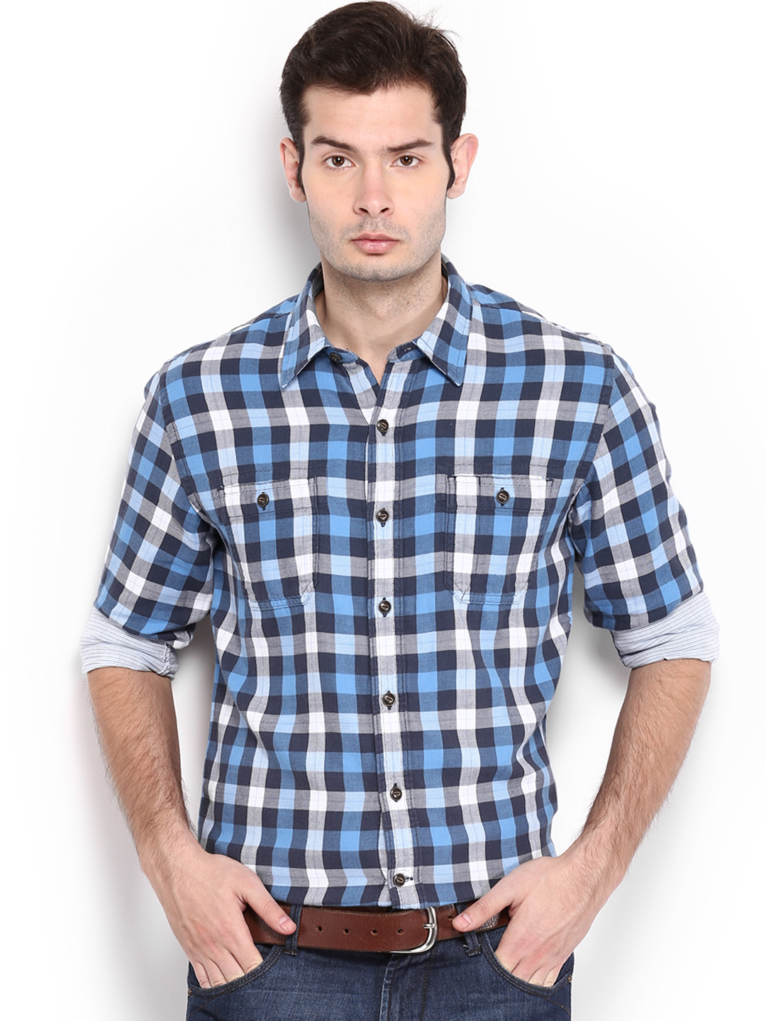 Timberland Timberland Men Blue & White Checked Slim Fit Layer Plaid Smart-Casual Shirt (Multicolor)