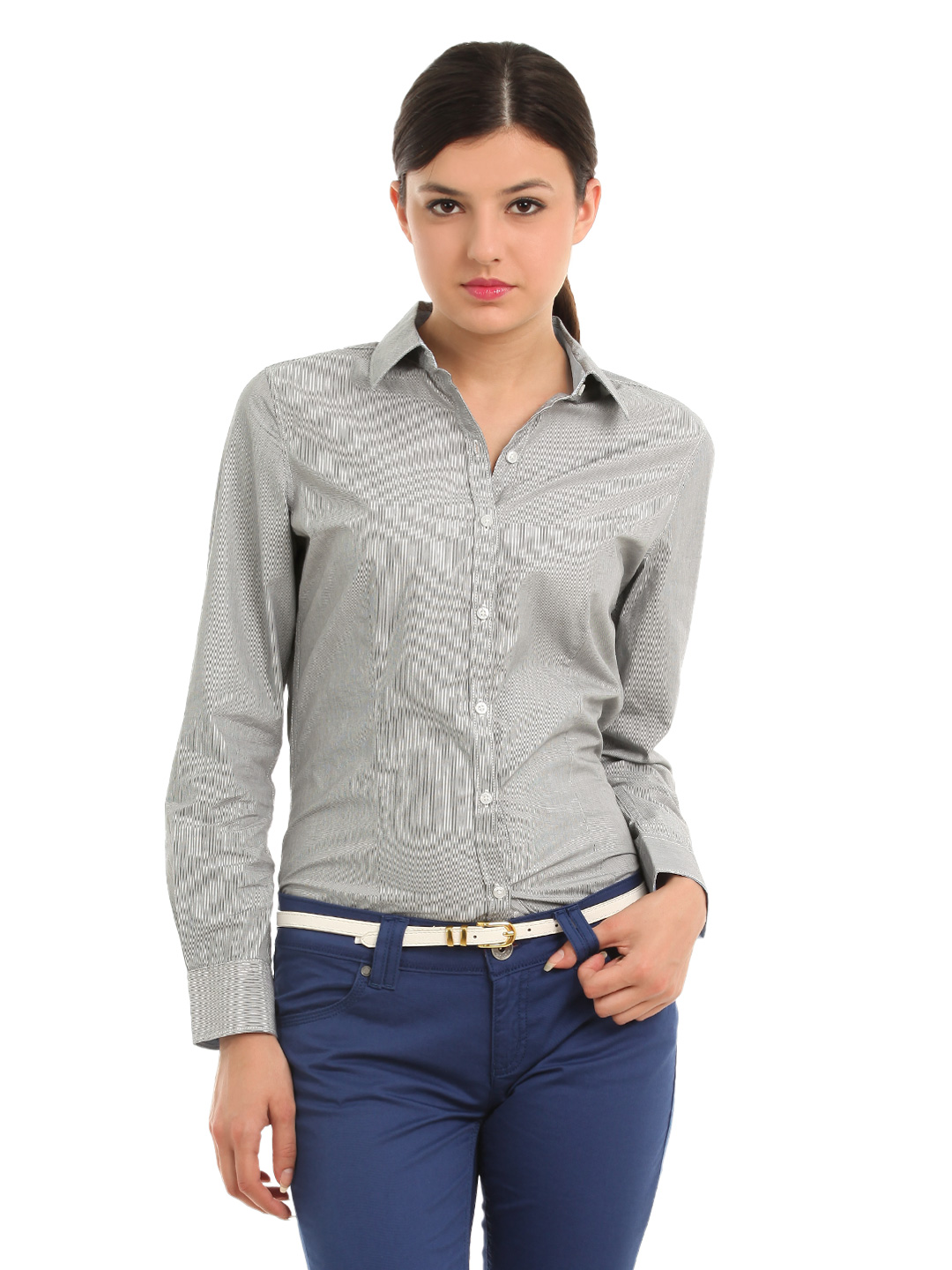 Allen Solly Woman Grey Shirt