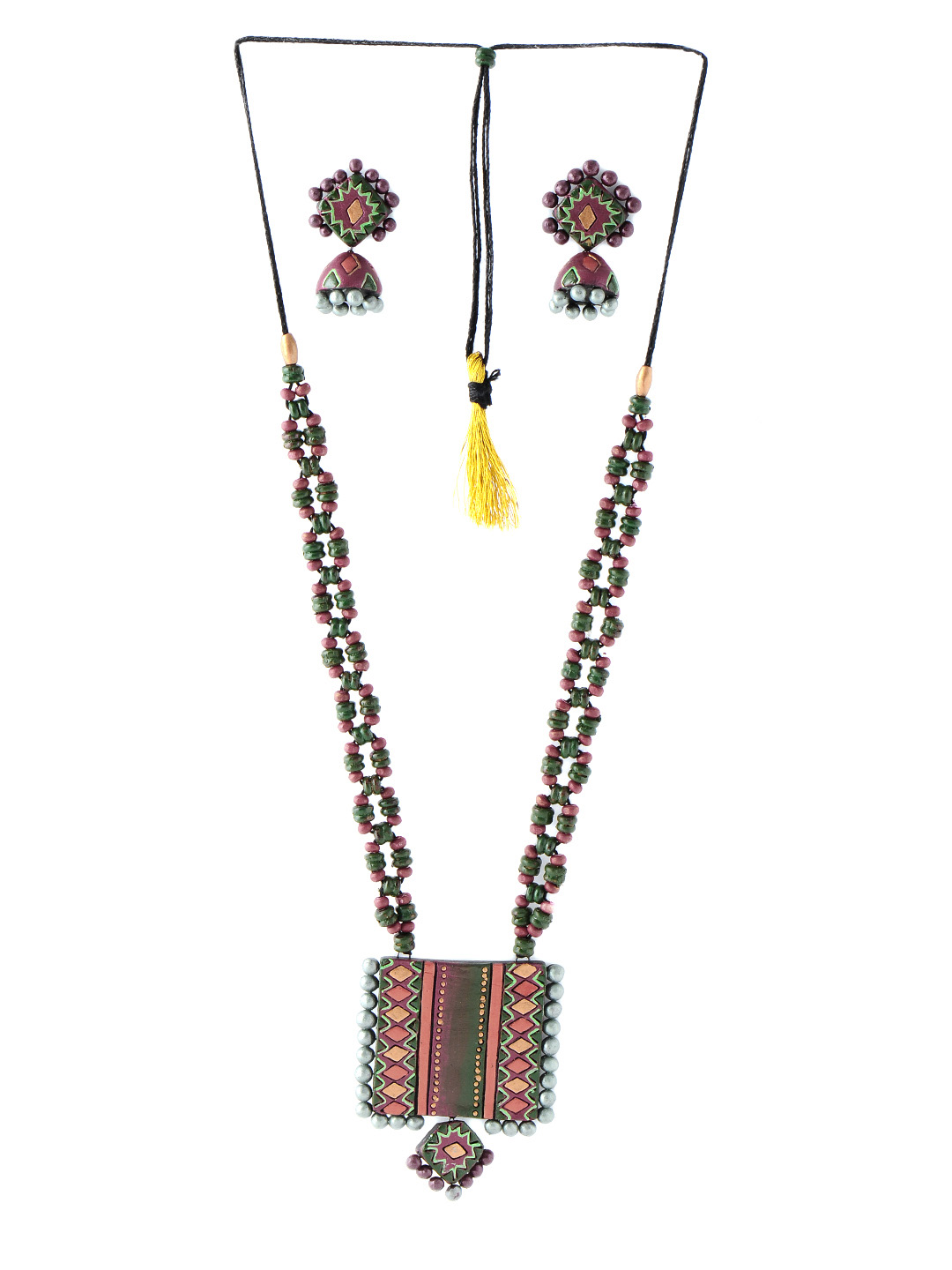 Adrika Green Teracotta  Jewellery Set