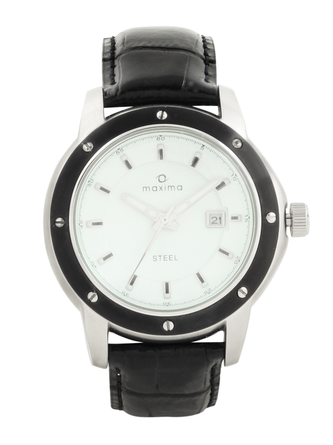 Maxima Men White Dial Attivo Watch