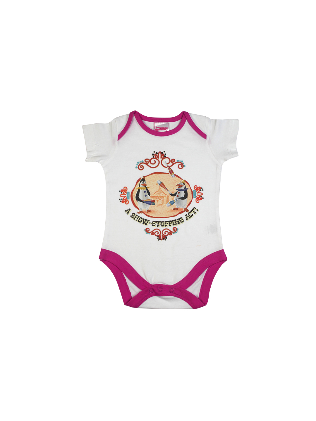 Madagascar3 Infant Girls White Snapsuit Romper