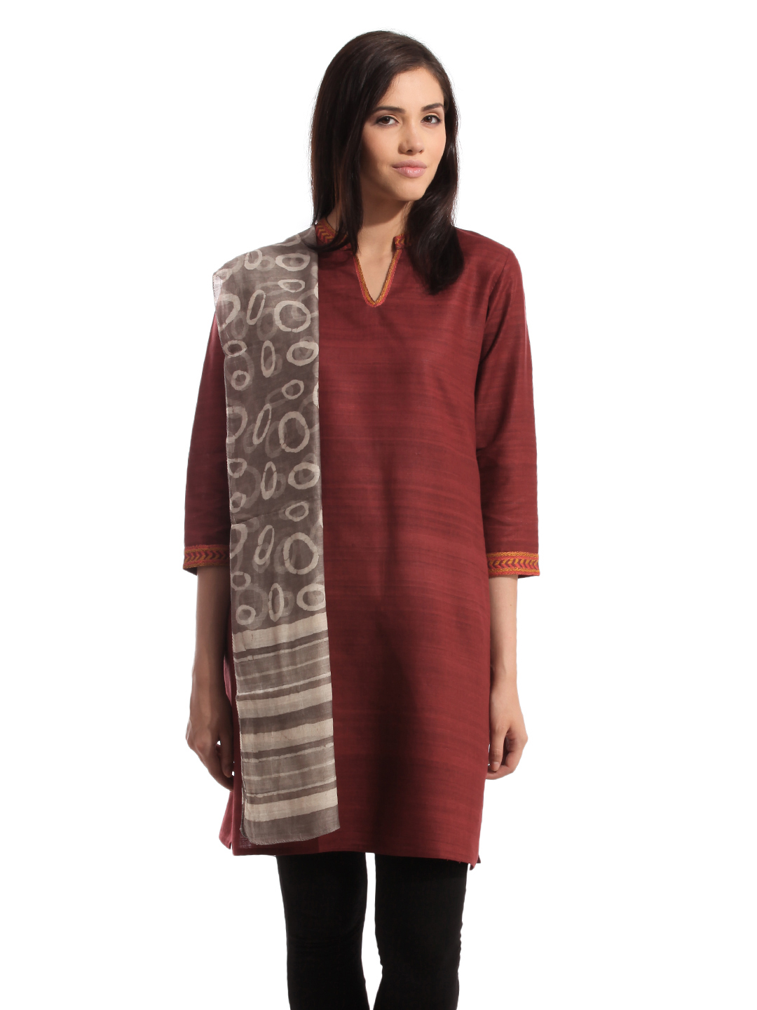 Fabindia Women Chanderi Grey Stole