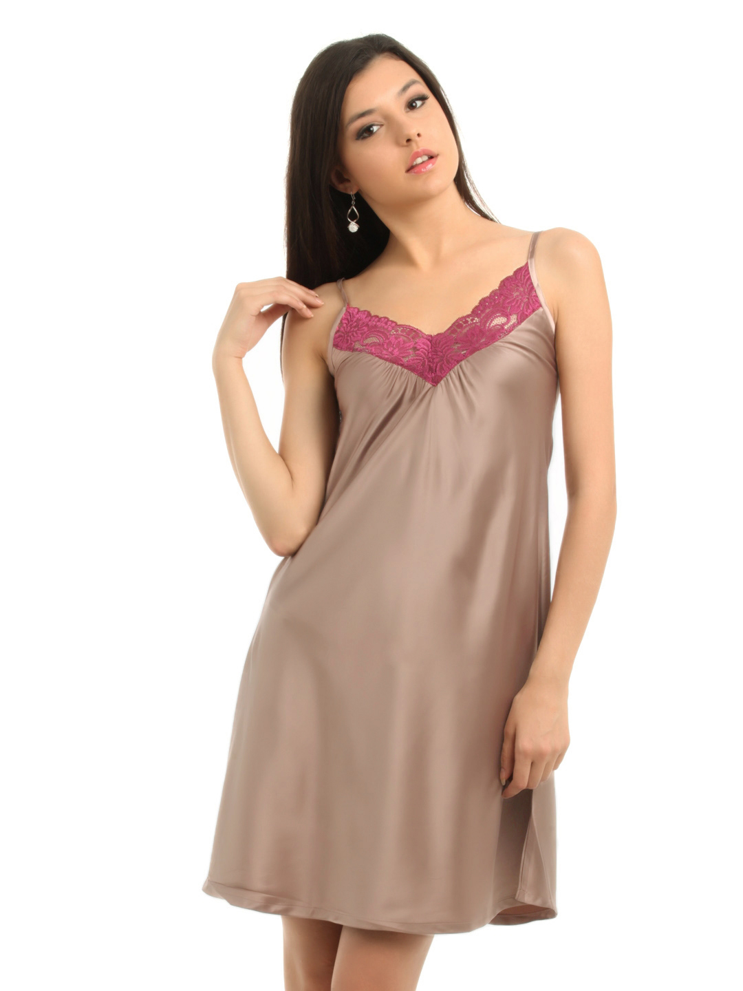 Enamor Women Taupe Nightdress