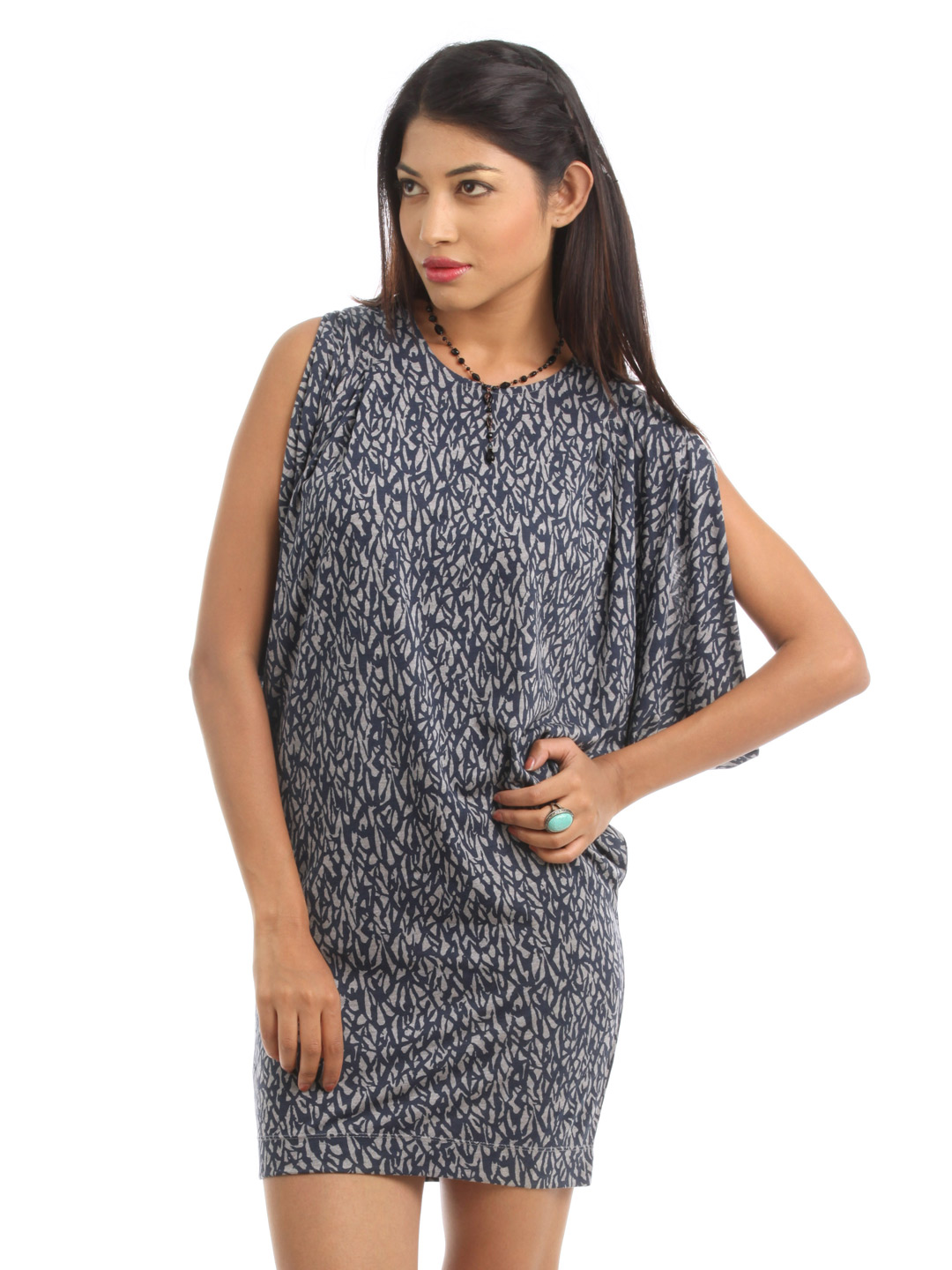French Connection Women Grey Melange Dress