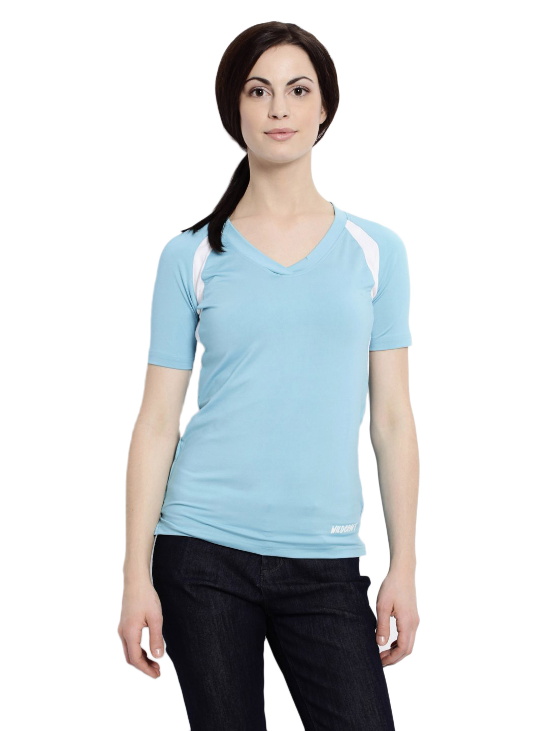 Wildcraft Women Solid Blue Tshirt
