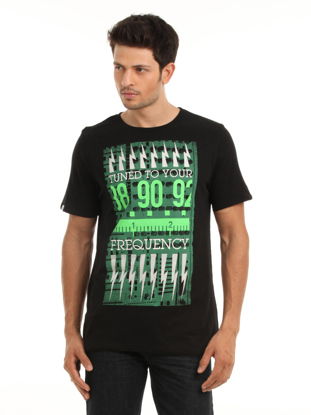 Puma Men Black & Green T-shirt