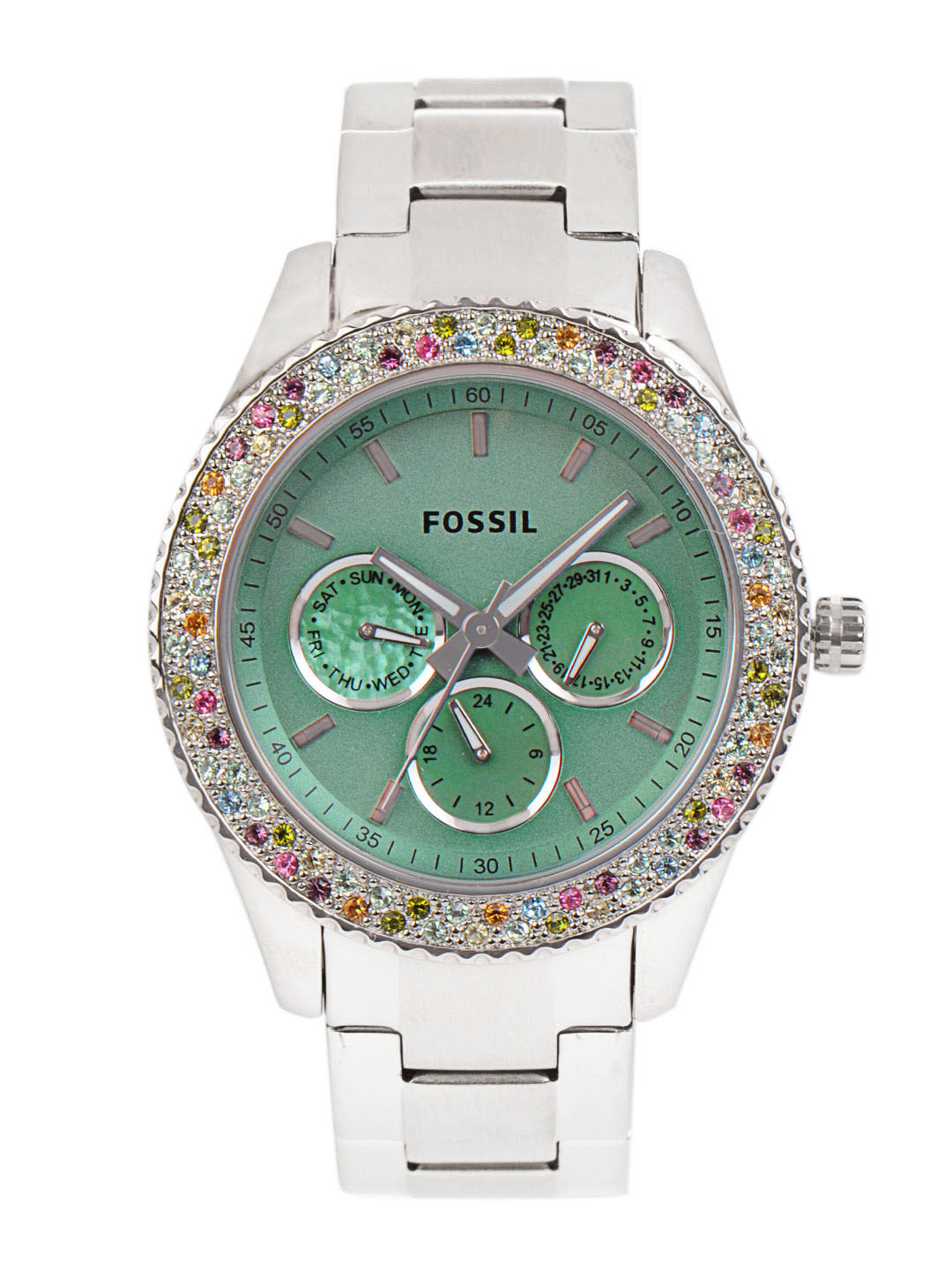 Fossil Women Green Dial Chronograph Watch
