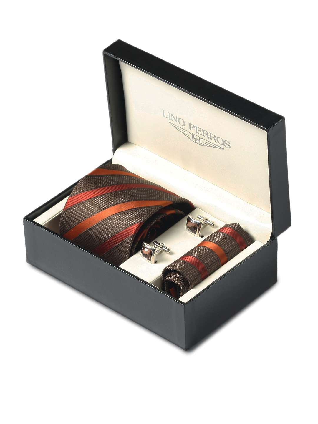 Lino Perros Men Formal Brown Accessory Gift Set