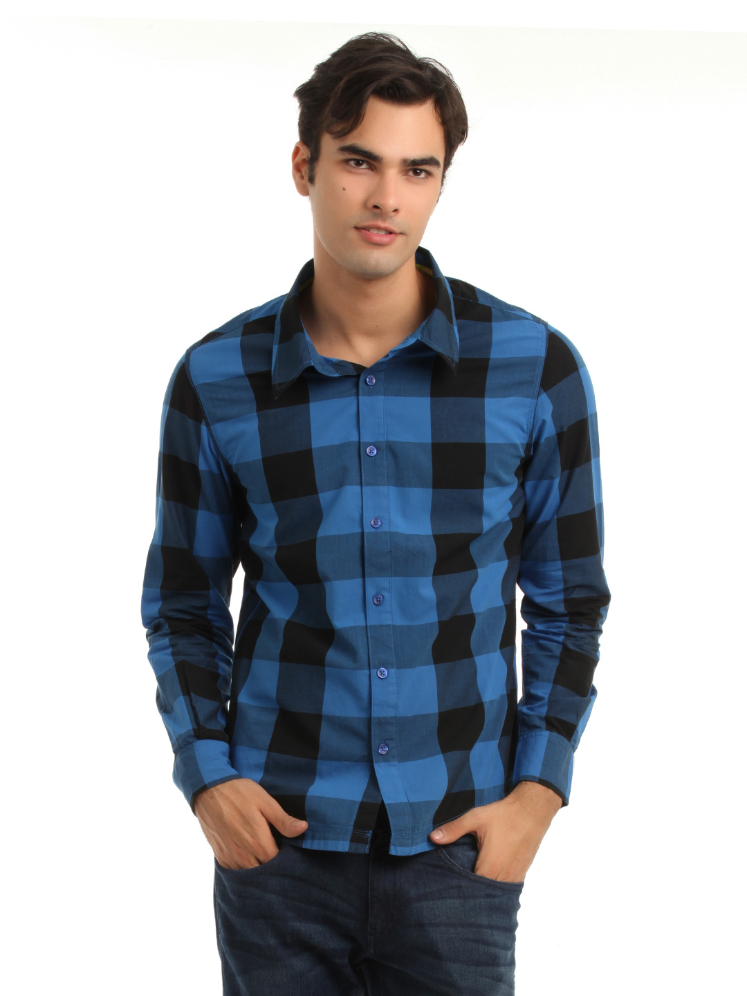 Adidas Men Blue & Black Check Shirt
