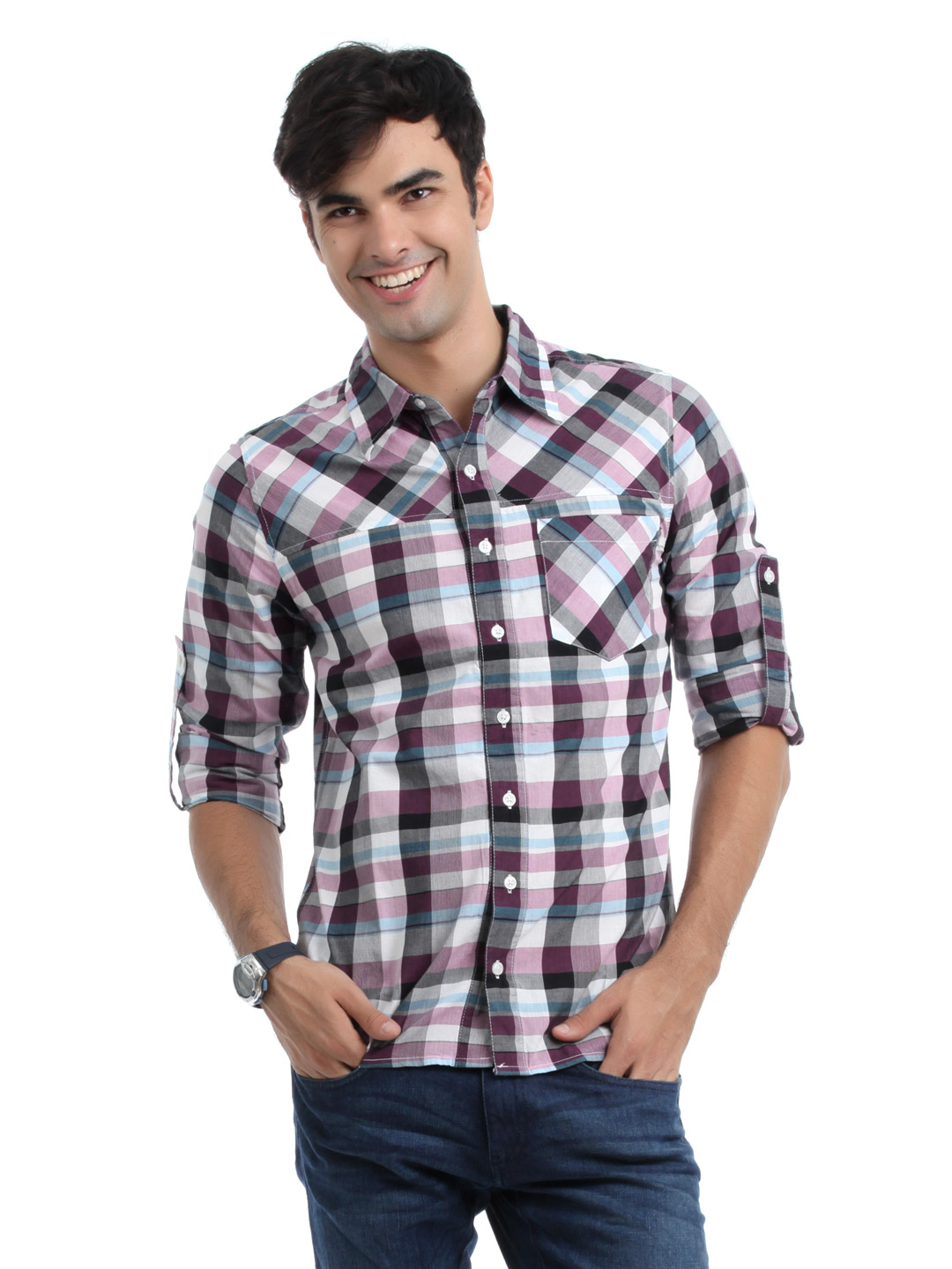 Adidas Men Purple & Black Check Shirt