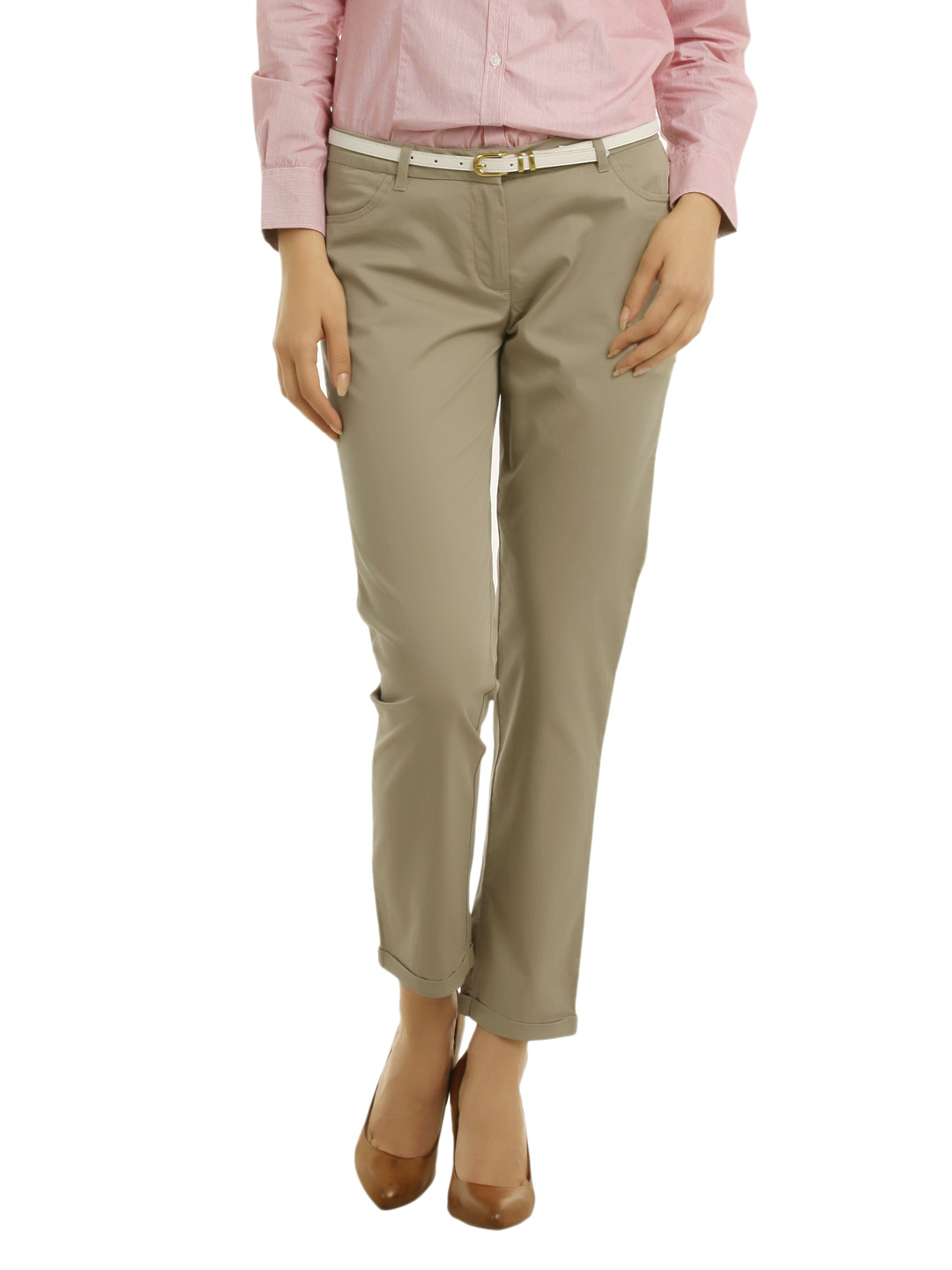 Allen Solly Woman Khaki Trousers