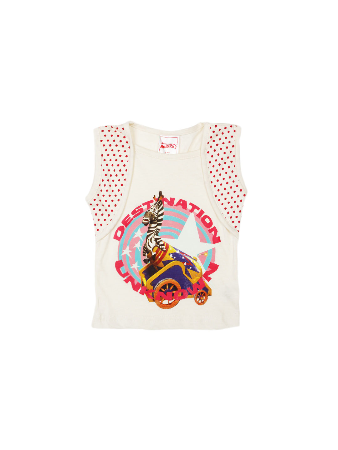 Madagascar3 Girls Off White Printed T-Shirt