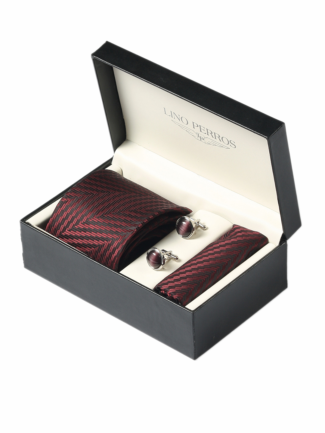 Lino Perros Men Formal Maroon Accessory Gift Set