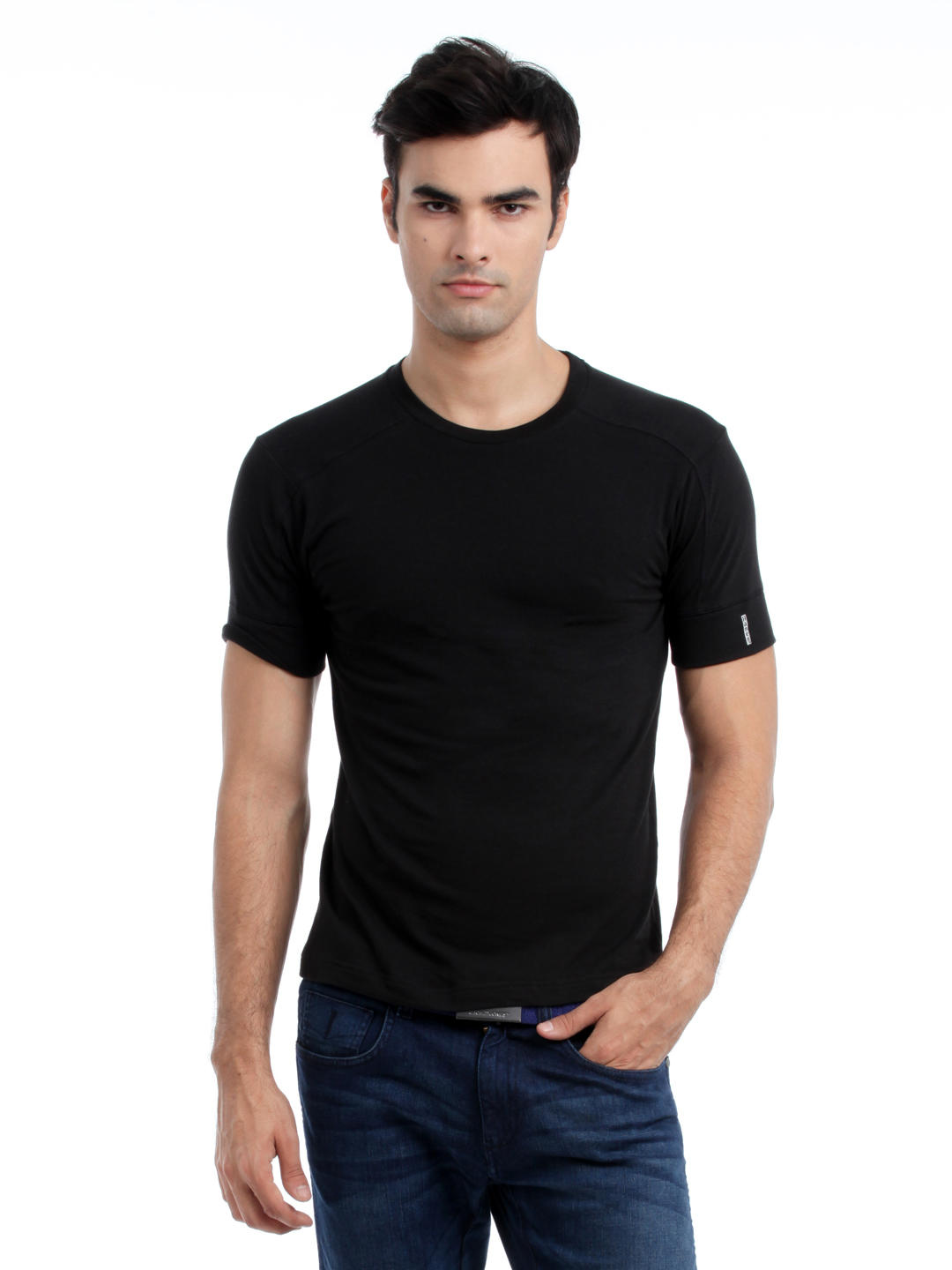 Hanes Men Black Duo Dry Body Fit Crew T-shirt
