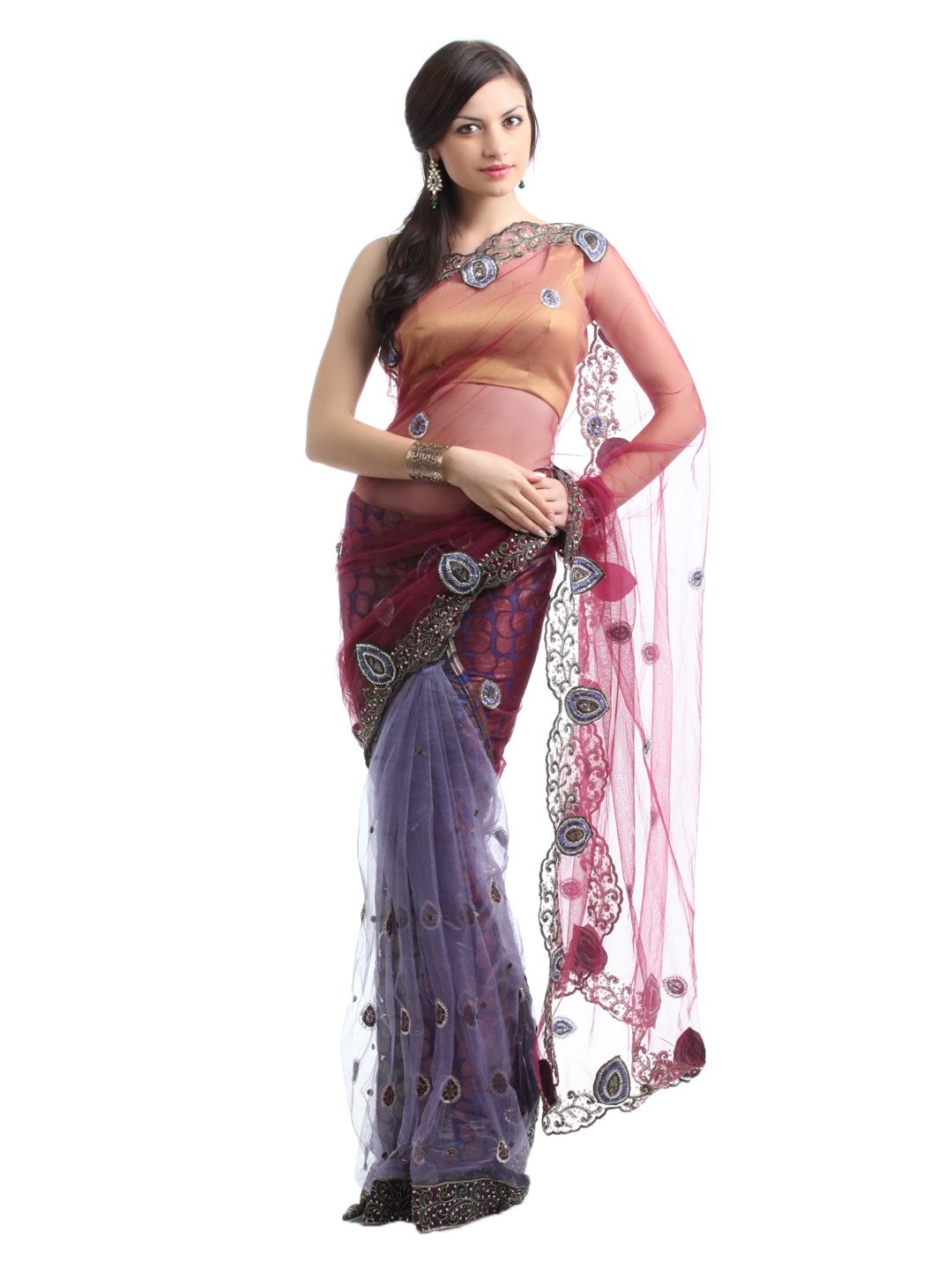 Ambica Purple One Minute Sari
