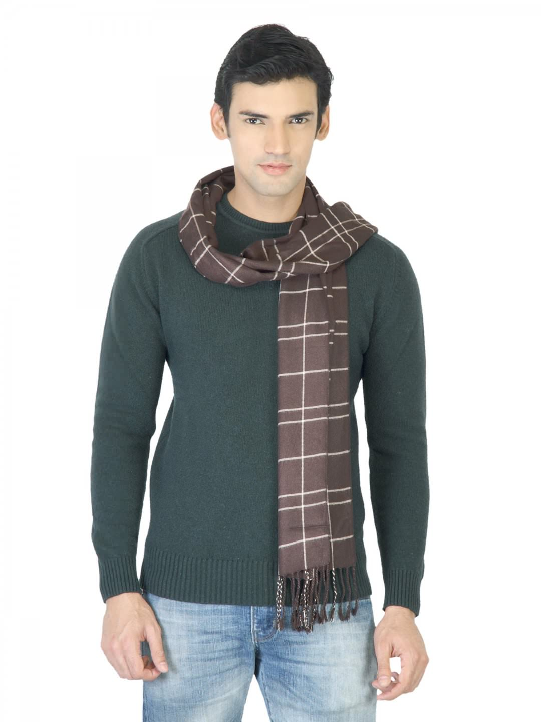 Arrow Men Brown Check Scarf