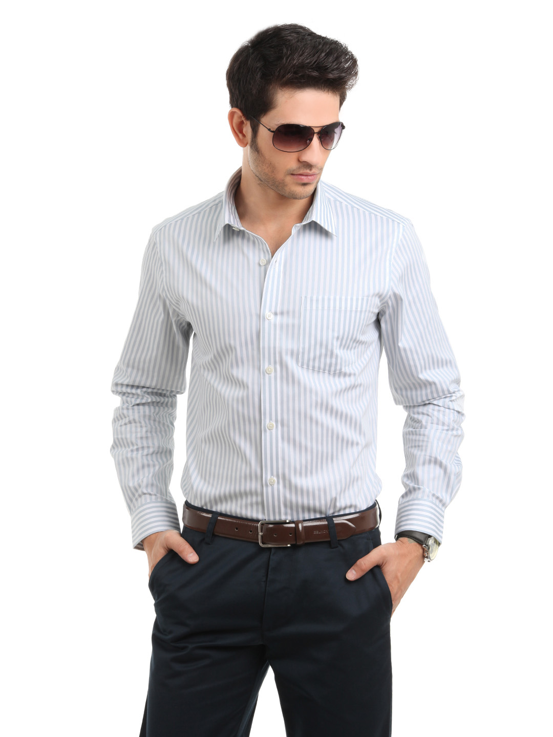 Arrow Men Striped Grey Slim Fit Shirt