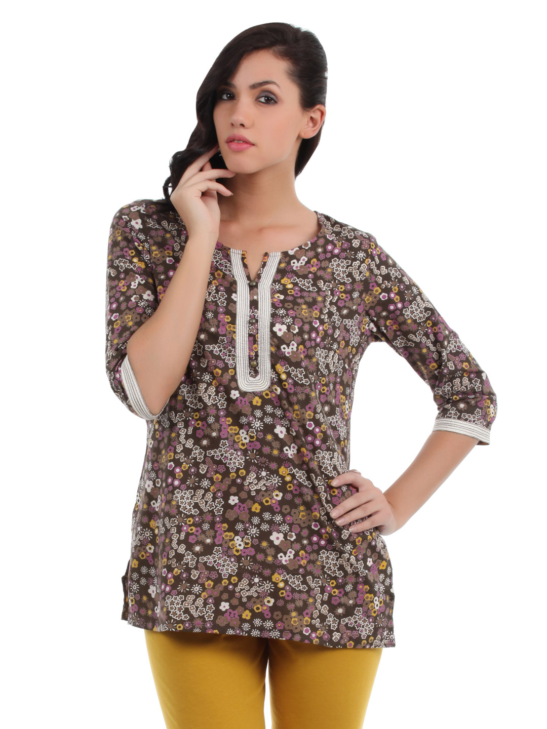 Aurelia Women Brown Printed Kurti