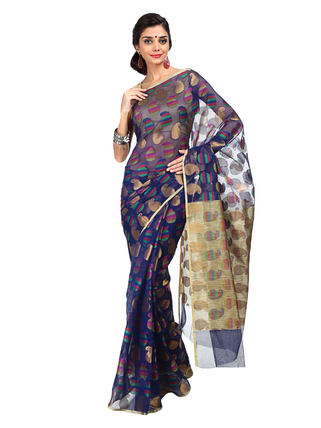 Bunkar Blue Traditional Saree