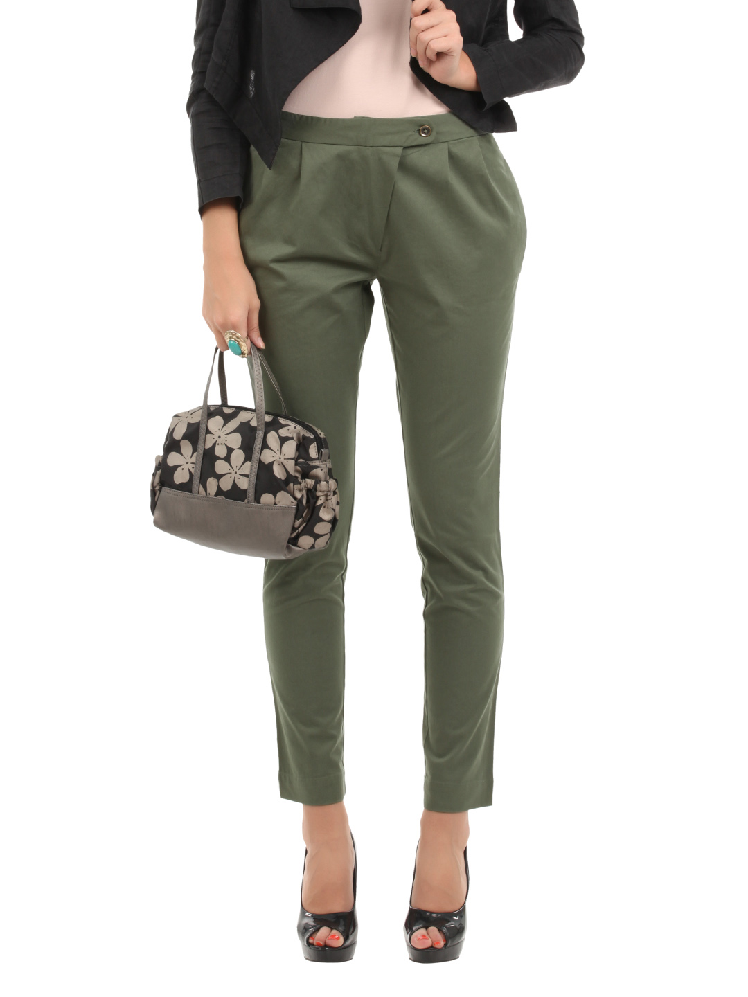 Elle Women Olive Trousers