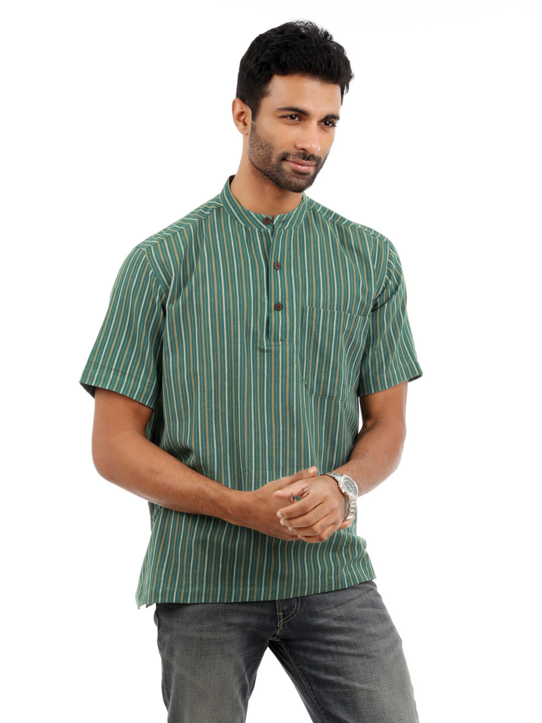 Fabindia Men Green Kurta
